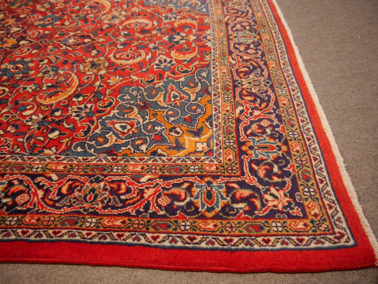 Sarouk Hand-Knotted Oriental Rug Red and Blue For Sale 3