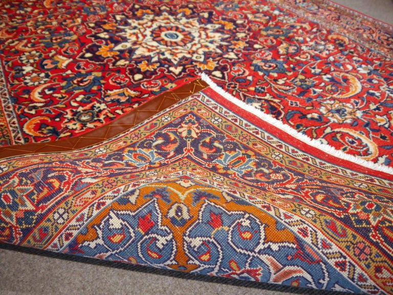 Sarouk Hand-Knotted Oriental Rug Red and Blue For Sale 4
