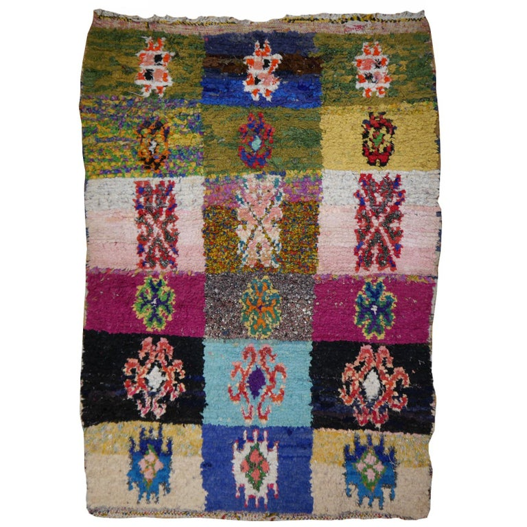 North African Tribal Khozema Rug Modern Moroccan Design For Sale