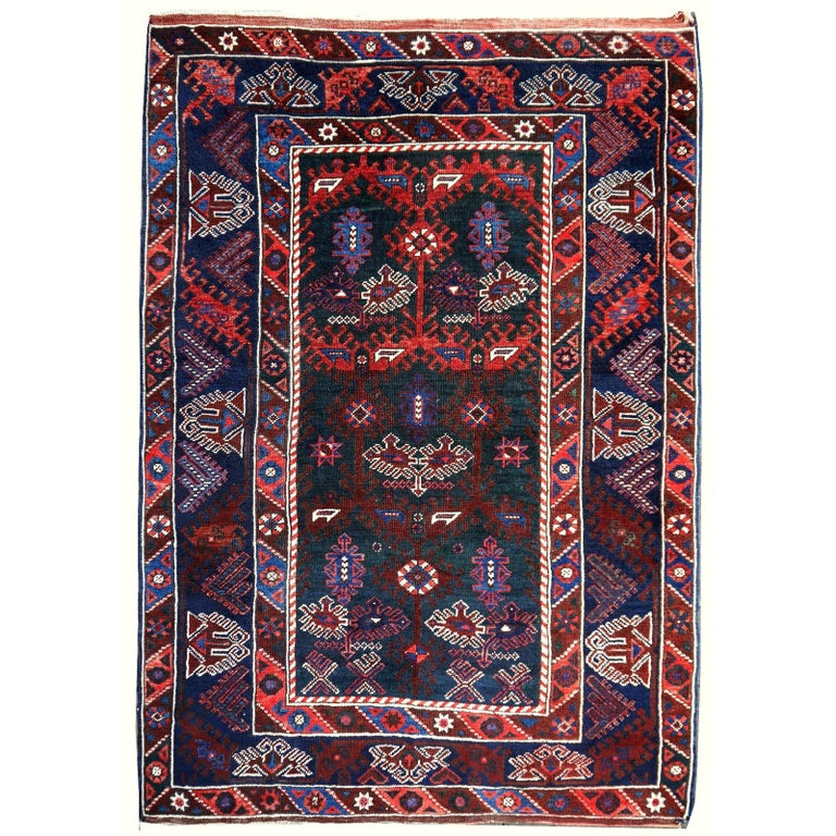 Turkish Rug Hand-Knotted Semi Antique with Rare Green Field For Sale