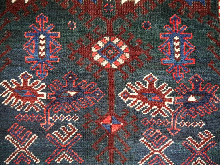 Turkish Rug Hand-Knotted Semi Antique with Rare Green Field In Excellent Condition For Sale In Lohr, Bavaria, DE
