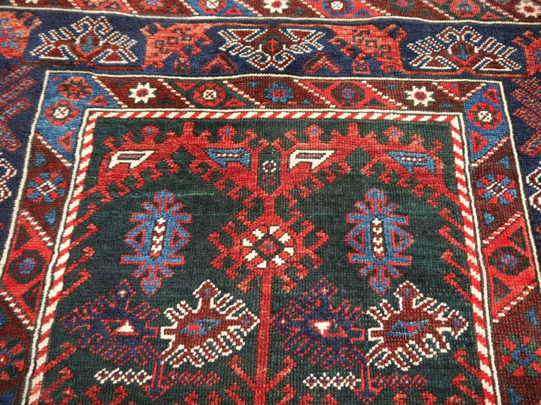 Early 20th Century Turkish Rug Hand-Knotted Semi Antique with Rare Green Field For Sale
