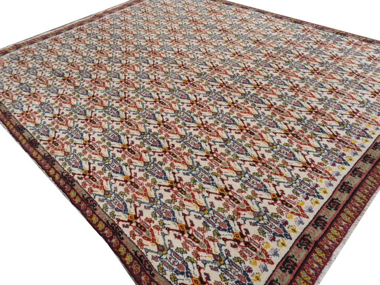 Large North African Moroccan Vintage Rug, Beige, Purple, Gold, Pink Blue For Sale 2