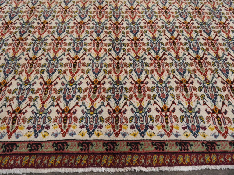 Large North African Moroccan Vintage Rug, Beige, Purple, Gold, Pink Blue For Sale 3