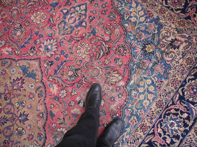 Hand-Knotted Antique Tabriz Persian Rug Low Pile Distressed Industrial Look For Sale