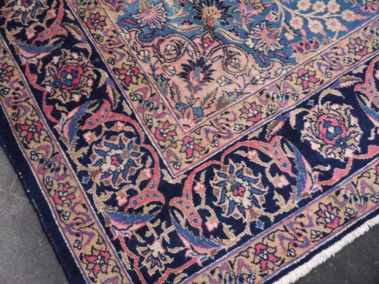 Antique Tabriz Persian Rug Low Pile Distressed Industrial Look In Good Condition For Sale In Lohr, Bavaria, DE