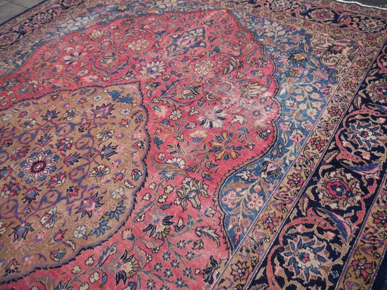 Mid-20th Century Antique Tabriz Persian Rug Low Pile Distressed Industrial Look For Sale
