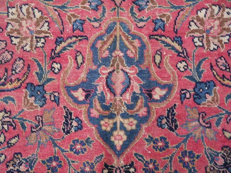Wool Antique Tabriz Persian Rug Low Pile Distressed Industrial Look For Sale