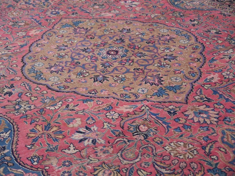 Antique Tabriz Persian Rug Low Pile Distressed Industrial Look For Sale 2