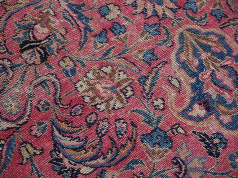 Antique Tabriz Persian Rug Low Pile Distressed Industrial Look For Sale 4
