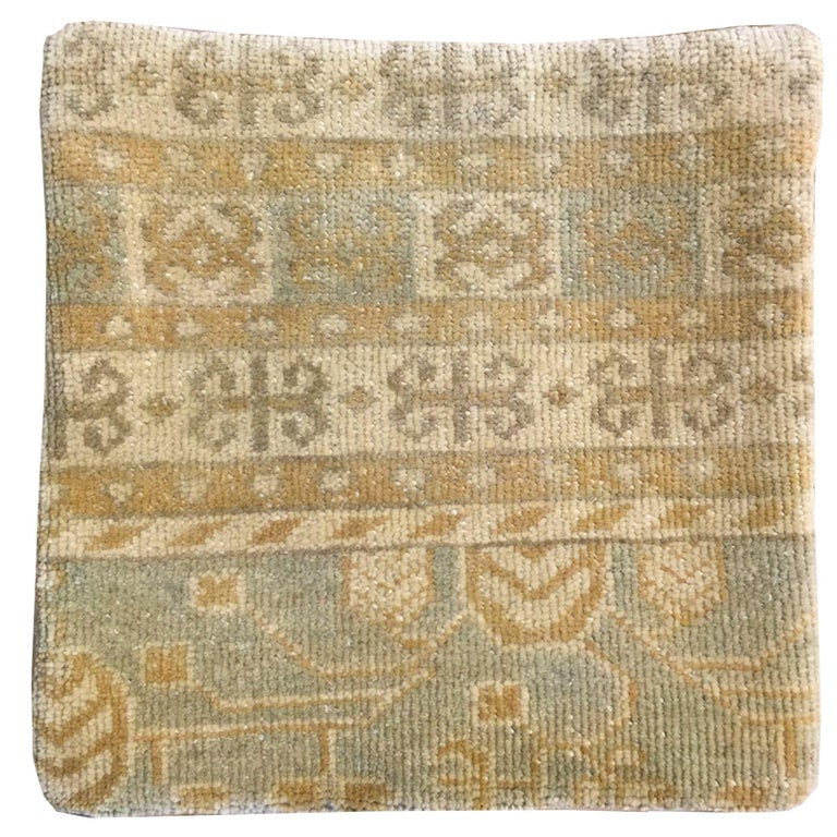 Decorative Hand-Knotted Rug Pillow Cover with Khotan Design For Sale
