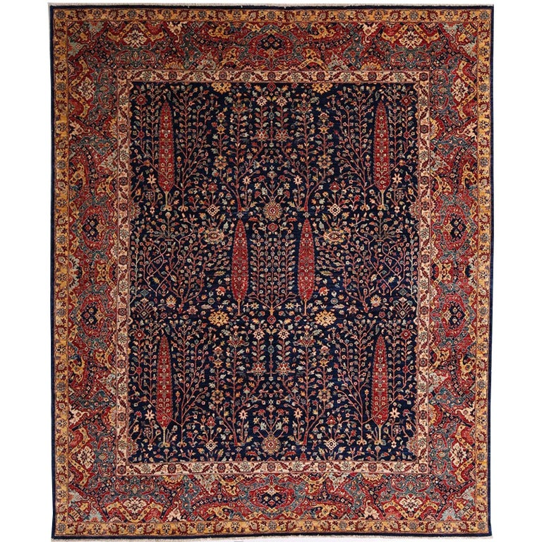 Afghan Carpet with Persian Bakhshaish Garden Rug Design For Sale