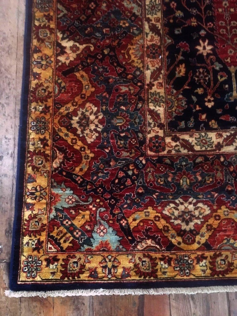 Hand-Knotted Afghan Carpet with Persian Bakhshaish Garden Rug Design For Sale
