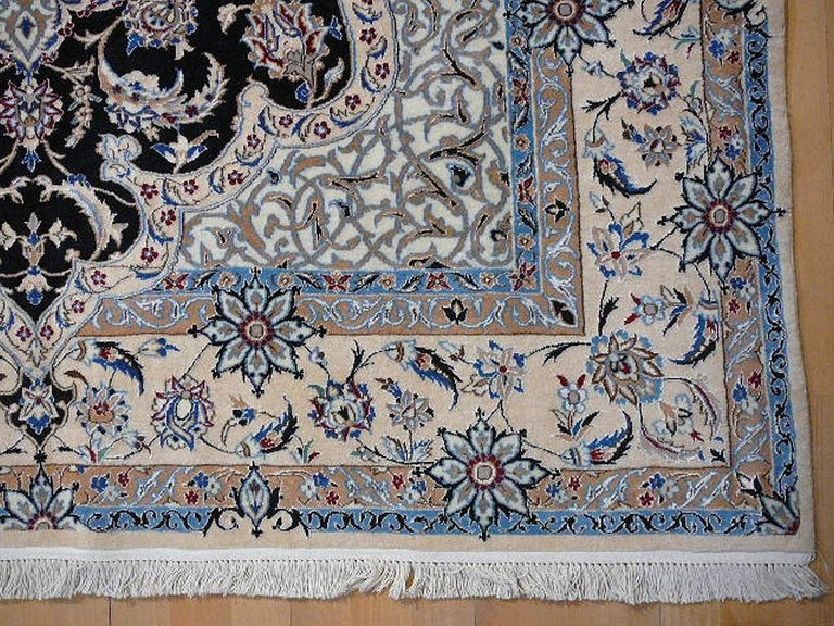 Hand-Knotted Very Fine Nain Rug For Sale