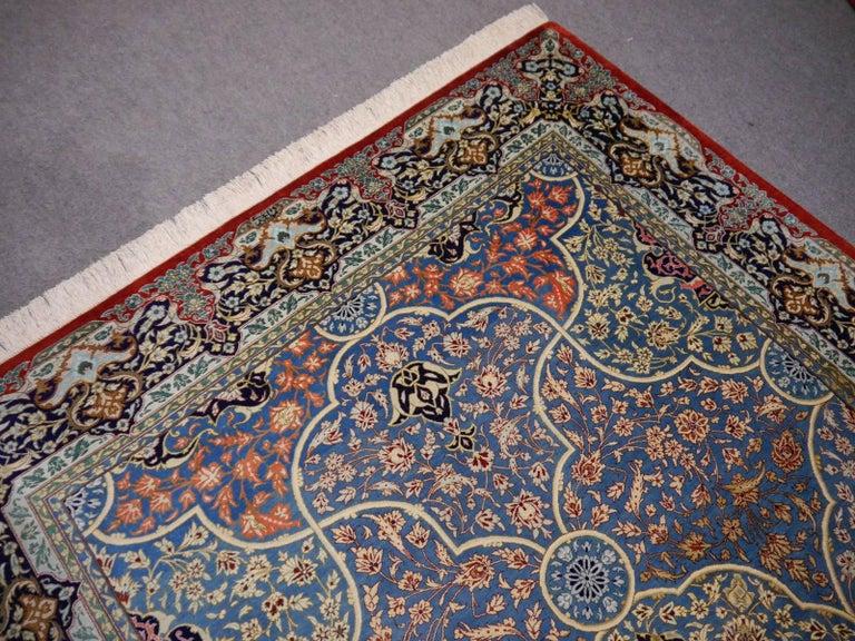 Fantastic fine pure silk Persian rug. More than 650 knots per square inch, signed.