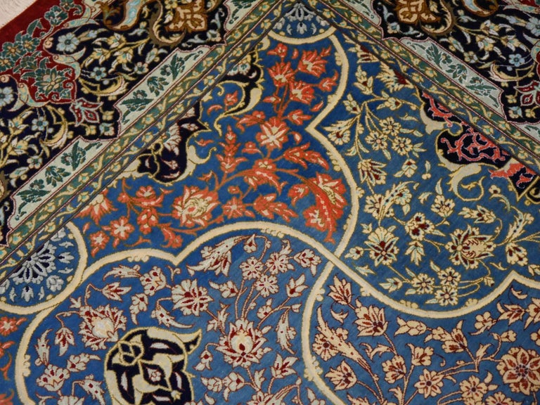 Hand-Knotted Persian Qum Pure Silk Rug For Sale