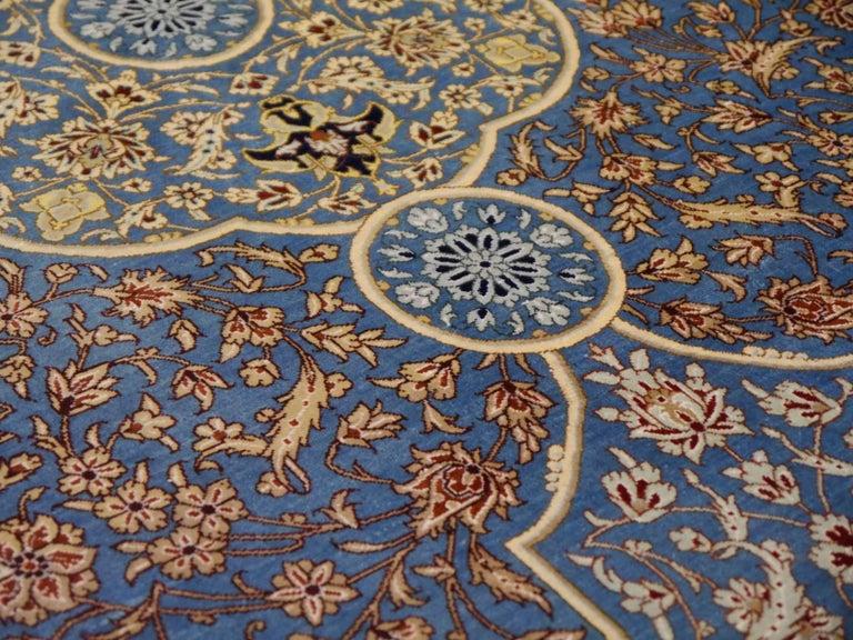 20th Century Persian Qum Pure Silk Rug For Sale