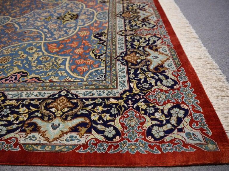 Persian Qum Pure Silk Rug For Sale 2