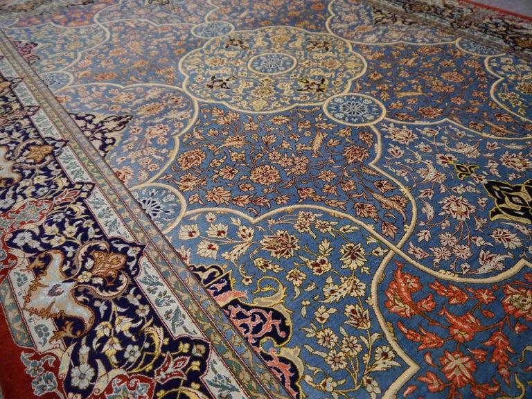 Persian Qum Pure Silk Rug For Sale 3