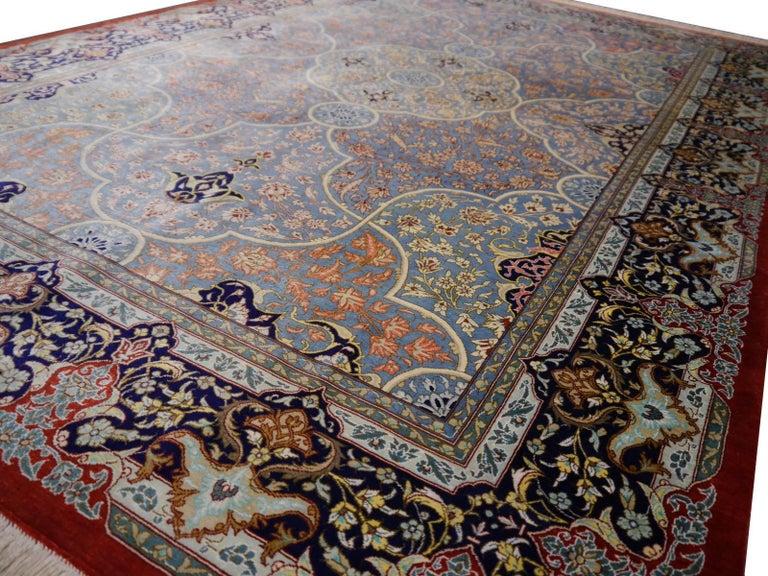 Persian Qum Pure Silk Rug For Sale 5