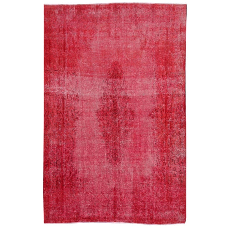 Overdyed Red Turkish Vintage Rug with Industrial Look For Sale