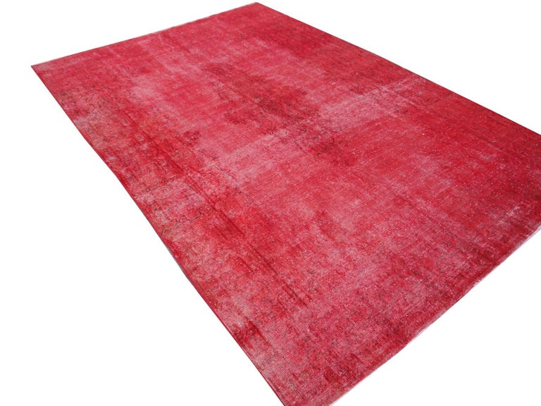 Tribal Overdyed Red Turkish Vintage Rug with Industrial Look For Sale