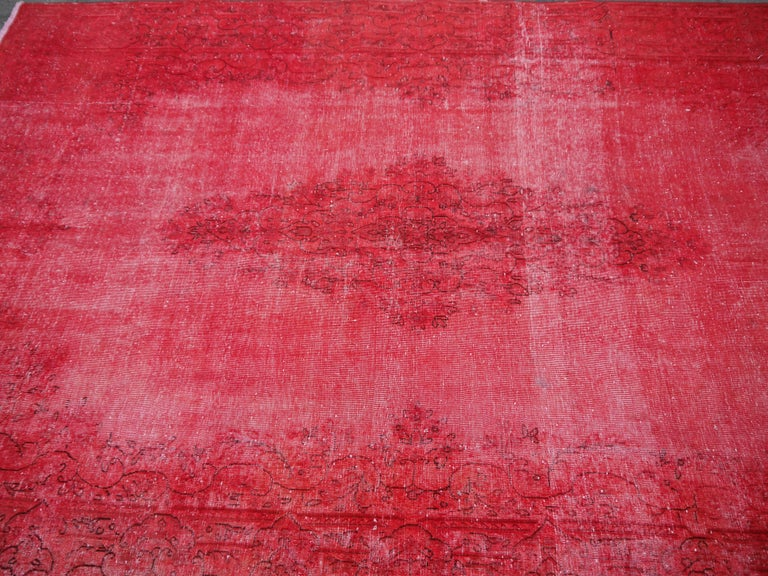 Hand-Knotted Overdyed Red Turkish Vintage Rug with Industrial Look For Sale