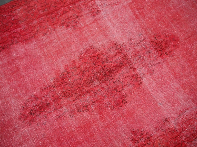 Mid-20th Century Overdyed Red Turkish Vintage Rug with Industrial Look For Sale
