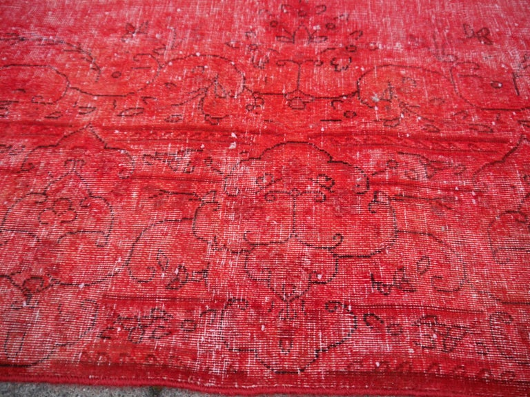 Wool Overdyed Red Turkish Vintage Rug with Industrial Look For Sale
