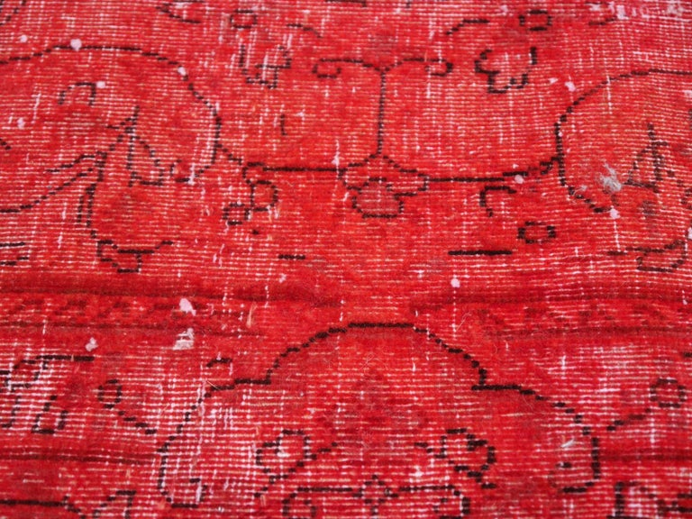 Overdyed Red Turkish Vintage Rug with Industrial Look For Sale 1