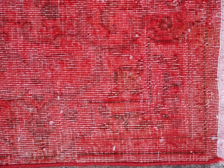 Overdyed Red Turkish Vintage Rug with Industrial Look For Sale 2