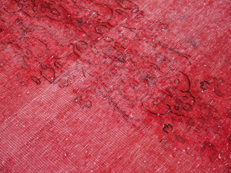 Overdyed Red Turkish Vintage Rug with Industrial Look For Sale 3