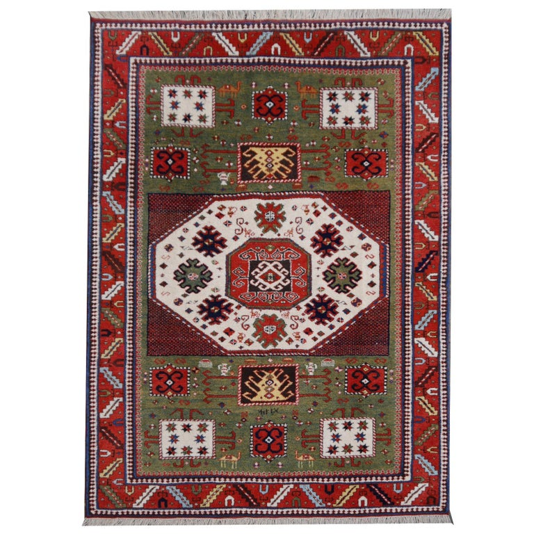 Kazak Charachoph Rug Hand Knotted in Azerbeijan with Vegetable Dyes For Sale