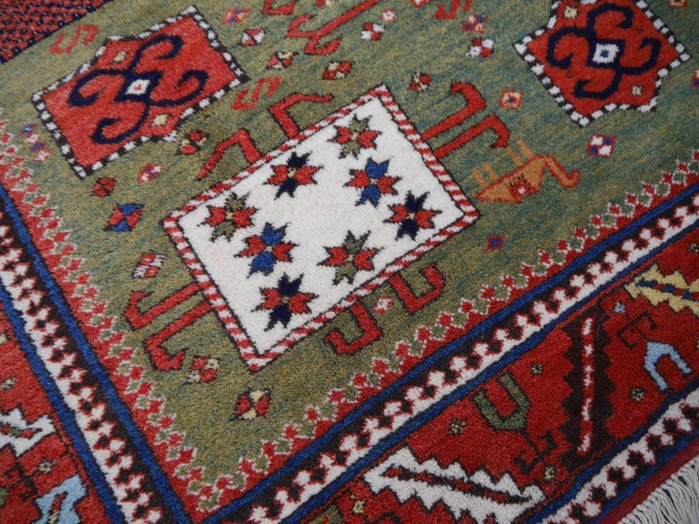 Tribal Kazak Charachoph Rug Hand Knotted in Azerbeijan with Vegetable Dyes For Sale