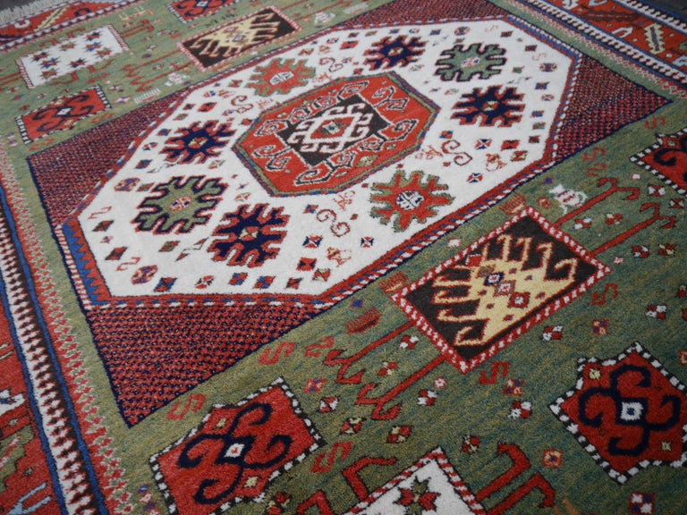 Azerbaijani Kazak Charachoph Rug Hand Knotted in Azerbeijan with Vegetable Dyes For Sale