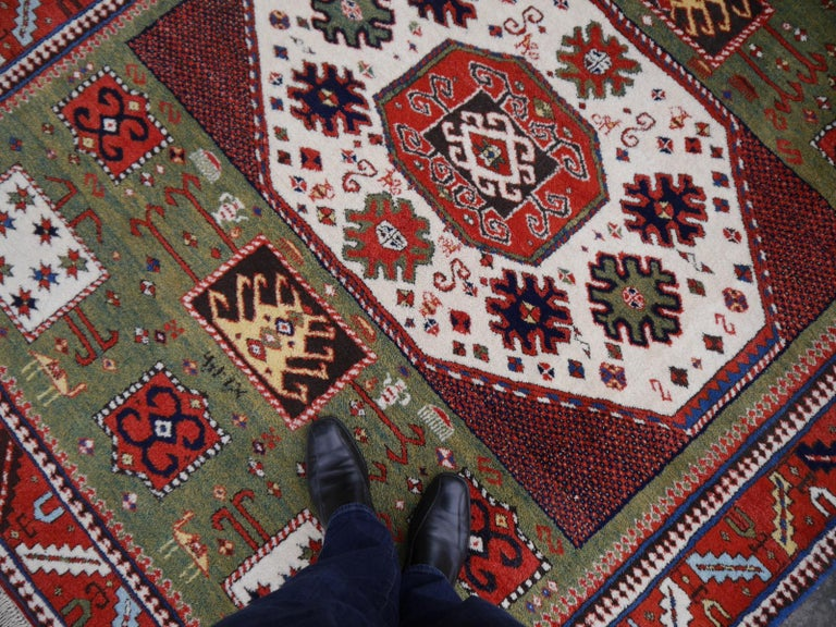 Hand-Knotted Kazak Charachoph Rug Hand Knotted in Azerbeijan with Vegetable Dyes For Sale