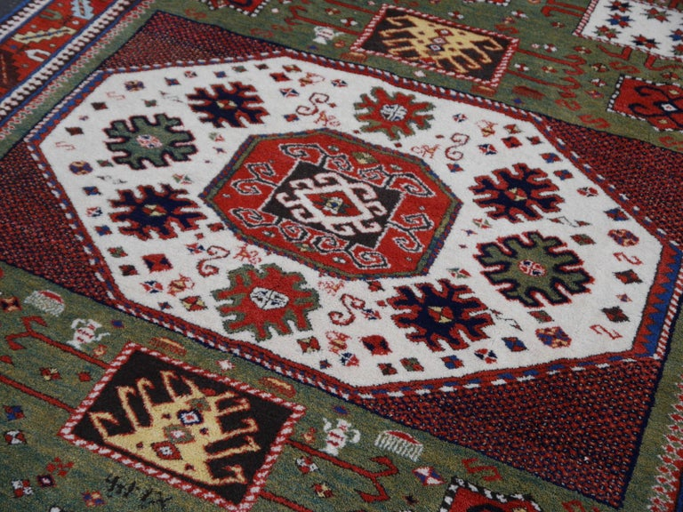 Kazak Charachoph Rug Hand Knotted in Azerbeijan with Vegetable Dyes In Excellent Condition For Sale In Lohr, Bavaria, DE