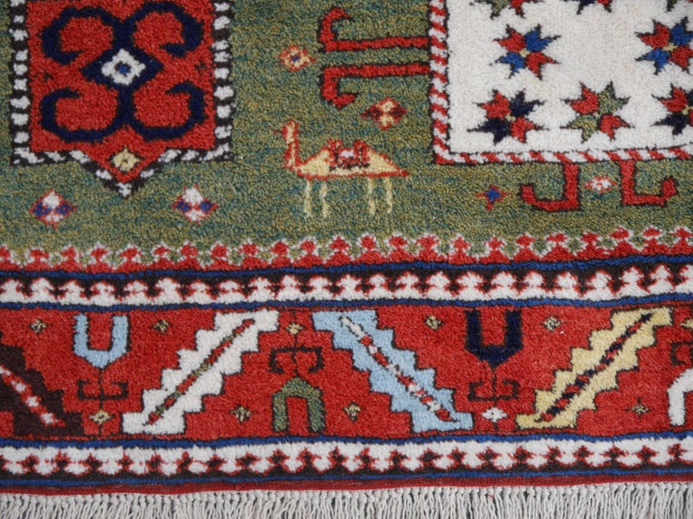Late 20th Century Kazak Charachoph Rug Hand Knotted in Azerbeijan with Vegetable Dyes For Sale