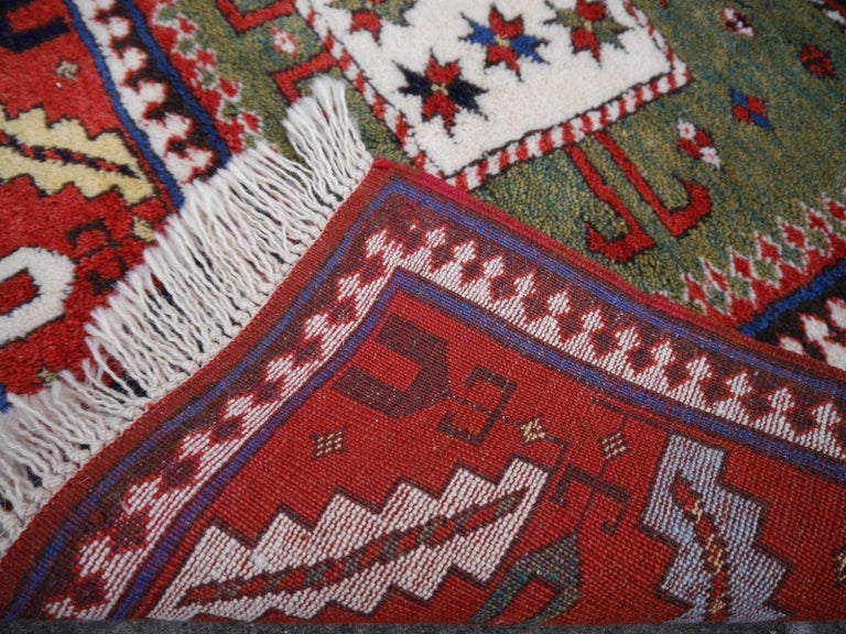 Wool Kazak Charachoph Rug Hand Knotted in Azerbeijan with Vegetable Dyes For Sale