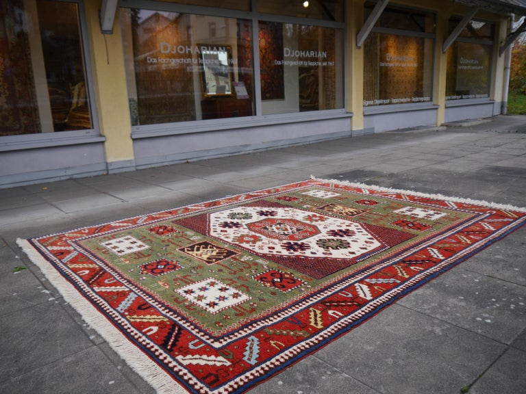 Kazak Charachoph Rug Hand Knotted in Azerbeijan with Vegetable Dyes For Sale 2