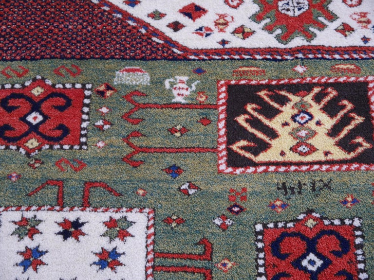 Kazak Charachoph Rug Hand Knotted in Azerbeijan with Vegetable Dyes For Sale 3