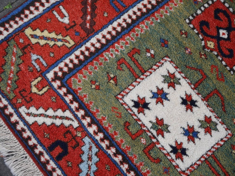 Kazak Charachoph Rug Hand Knotted in Azerbeijan with Vegetable Dyes For Sale 4