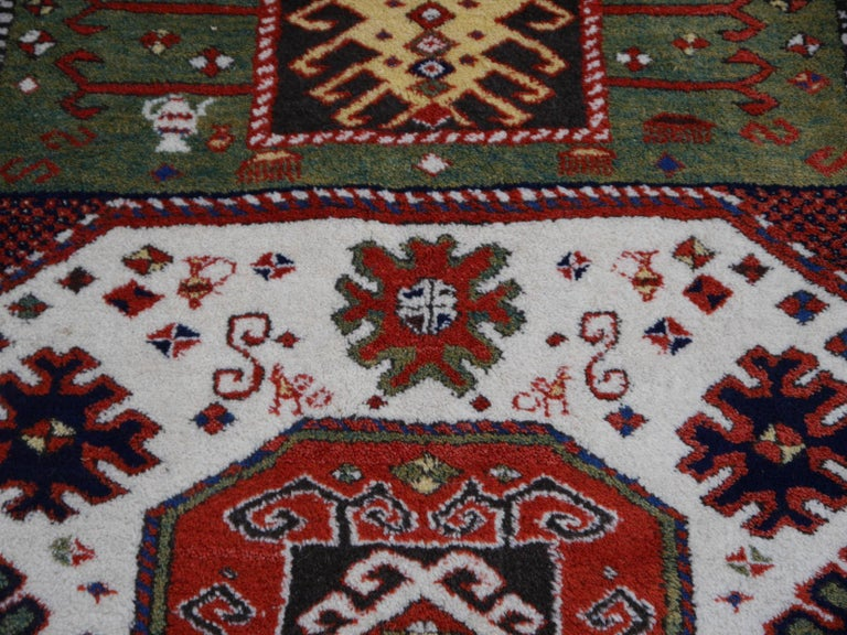 Kazak Charachoph Rug Hand Knotted in Azerbeijan with Vegetable Dyes For Sale 5