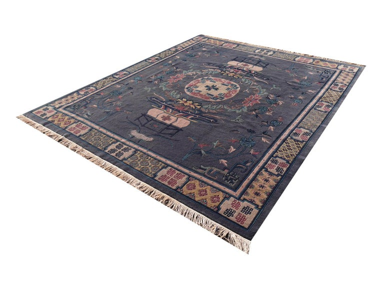 Hand-Knotted Tibetan Hand Knotted Vintage Traditional Area Rug For Sale