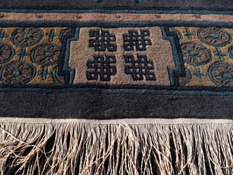 Tibetan Hand Knotted Vintage Traditional Area Rug For Sale 1