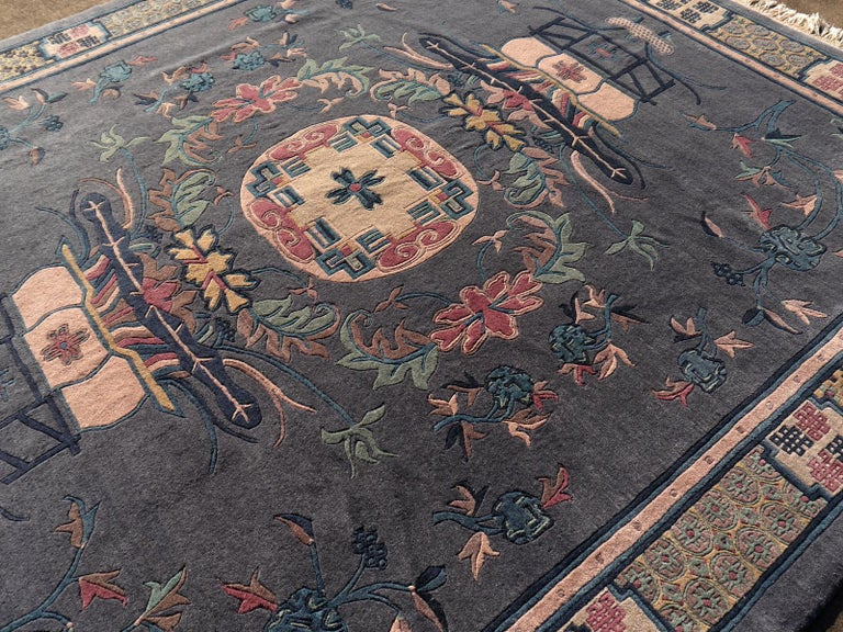 Tibetan Hand Knotted Vintage Traditional Area Rug For Sale 5