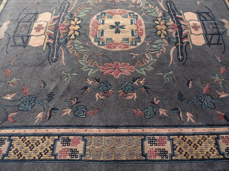 Tibetan Hand Knotted Vintage Traditional Area Rug For Sale 6