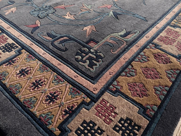 Tibetan Hand Knotted Vintage Traditional Area Rug For Sale 7