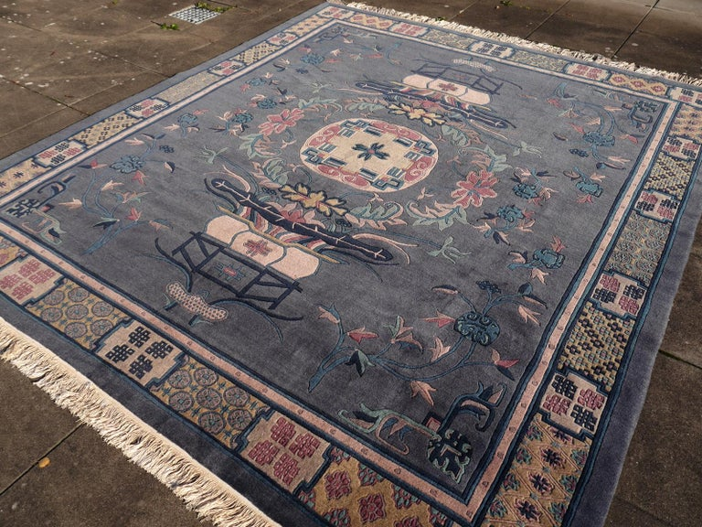 Tibetan Hand Knotted Vintage Traditional Area Rug For Sale 8