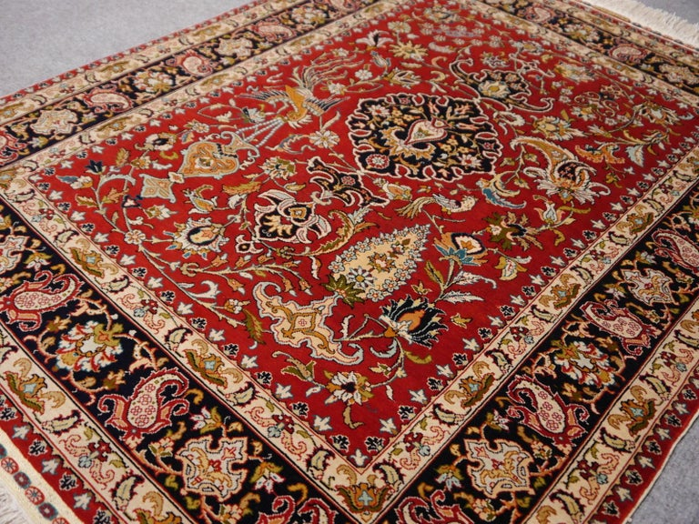 Very fine Turkish pure silk Hereke prayer rug from the famous Ozipek workshop.   Turkish Hereke silk rugs are the most exclusive and highly priced rugs of all silk rugs made. The Ozipek workshop is one of the TOP rug makers of all producers in